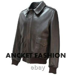 Aviator A-2 Real Dark Brown Leather Bomber Flight Jacket