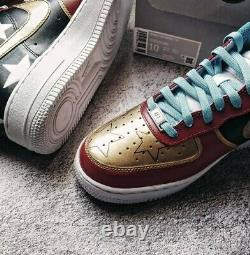 Custom Nike Air Force 1 07 Dark Blue Red Gold Womens Size 10 Ready to ship