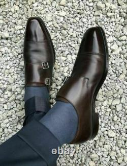Double Monk Dark Brown Formal Shoes for Men's, Handmade Brown Dress Shoes