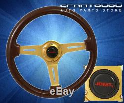 For Acura 345mm 6-Bolt Classic Dark Brown Wood Grain Steering Wheel Gold Steel