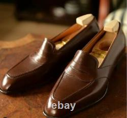 Handmade Men Dark Brown Moccasin Dress Business Shoes, Real Leather Office Shoes
