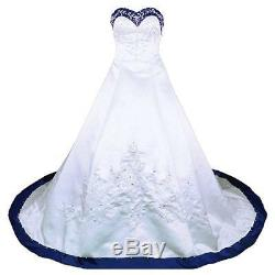 New Gorgeous Classic Sweep train Embroidery Satin Wedding Dresses Bridal Gowns