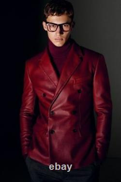 New Men's Sheepskin Leather Blazer Jacket Soft Double Breasted Button Red Jacket