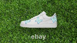 Nike Air Force 1 Low Light Dark Blue Butterfly White Custom Shoes All Sizes