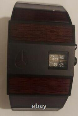 Nixon The Rotolog Watch withBlack Dial, Black Case and Dark Wood