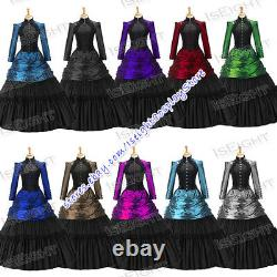 Victorian Gothic Lolita Classic Vintage Lace Brocaded Dress Long Sleeves Girls